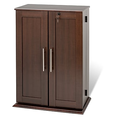 Prepac™ Locking Media Storage Cabinet With Shaker Doors, Espresso