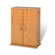 Prepac™ Locking Media Storage Cabinet, Oak and Black