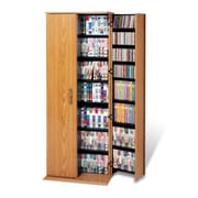Prepac™ Grande Locking Media Storage Cabinet, Oak and Black