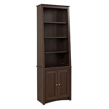 Prepac™ Tall Slant Back Bookcase With 2 Shaker Doors, Espresso