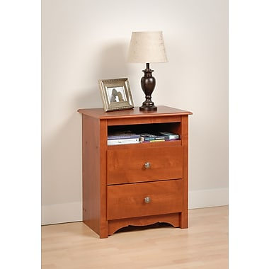 Prepac™ 28in. Monterey Tall 2 Drawer Nightstand With Open Shelf, Cherry