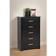 "Prepac™ 45.25"" Coal Harbor 5 Drawer Chest, Black"