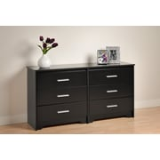 "Prepac™ 29.5"" Coal Harbor 6 Drawer Dresser, Black"