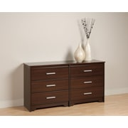 "Prepac™ 29.5"" Coal Harbor 6 Drawer Dresser, Espresso"