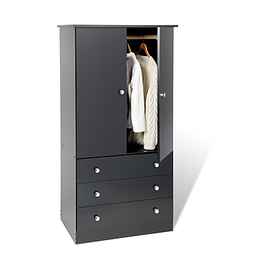 Prepac™ 60in. Edenvale 3 Drawer Wardrobe, Black