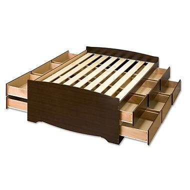 PrepacMC – Grand lit haut de rangement matelot à 12 tiroirs, 63 po