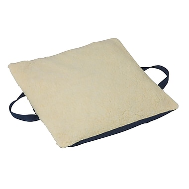 DMI® Duro-Gel™ 16in. x 18in. x 2in. Gelcare Sheepskin Flotation Cushion, Fleece Cover, Cream/Navy