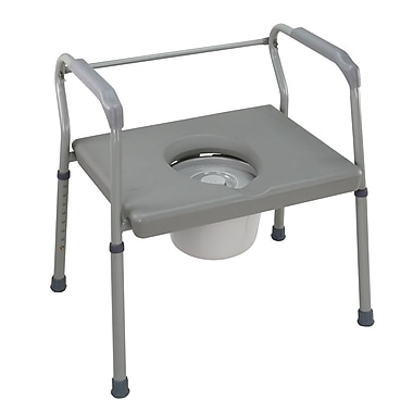 DMI® 500 lbs. Heavy-Duty Steel Commode With Platform Seat, Gray