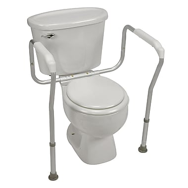 HealthSmart™ 250 lbs. Toilet Safety Adjustable Arm Support With BactiX™, Aluminum
