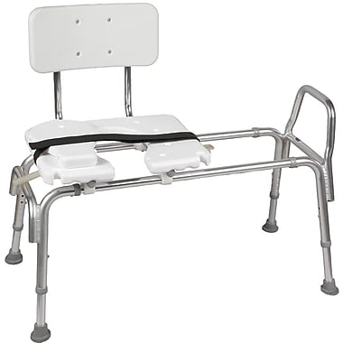 DMI® 19in. - 23in. x 19in. Heavy-Duty Sliding Transfer Bench With Cut-Out Seat, White