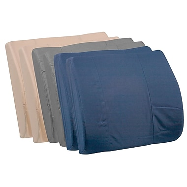 DMI® 14in. x 13in. Foam Standard Lumbar Cushion With Strap, Leatherette Cover, Navy/Gray/Tan