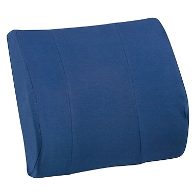 DMI® Relax-A-Bac® 14in. x 13in. Foam Lumbar Cushion With Strap, Polyester/Cotton Cover, Navy Blue