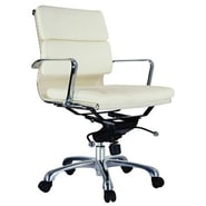 Creative Images International Murphy Low Back Leatherette Padded Office Chair w/Chrome Base; White
