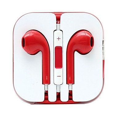 4XEM™ 4XAPPLEAR Earpod Earphones With Remote and Mic For iPhone/iPod/iPad, Red