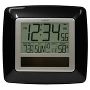 La Crosse Technology WT-8112U-BK Solar Atomic Digital Clock with Temperature & Humidity, Black