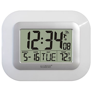 La Crosse Technology® WWVB Digital Clock With Indoor Temperature, White