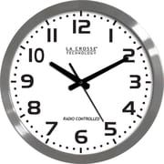La Crosse Technology WT-3161WH 16 Inch Stainless Steel Atomic Clock - White Dial