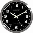 La Crosse Technology WT-3161BK Brushed Metal Analog Wall Clock, Silver