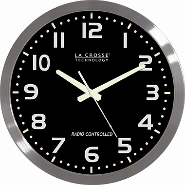 La Crosse Technology® 16in. Stainless Steel Atomic Clock, Black