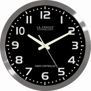La Crosse Technology WT-3161BK Brushed Metal Analog Wall Clock, Silver