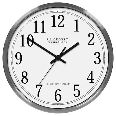 La Crosse Technology WT-3126B Stainless Steel Analog Wall Clock, Silver