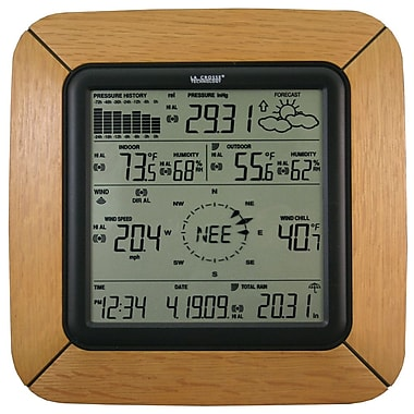 La Crosse Technology® Professional Weather Center With Solar Wind Sensor, Oak