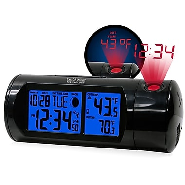 La Crosse Technology 616-143 Atomic Round LCD projection alarm clock with outdoor temperature