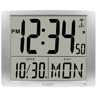 La Crosse Technology® Atomic 16in. Digital Wall Clock With Large 7in. Time Display, Silver