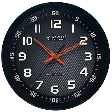La Crosse Technology® 10in. WWVB Chapter Ring Wall Analog Clock, Black