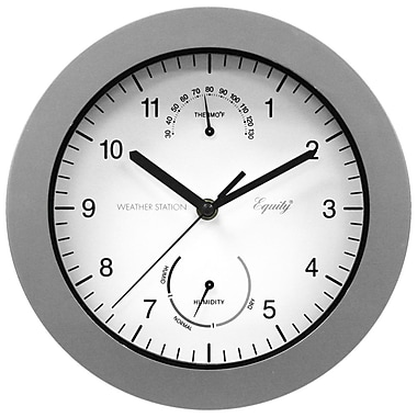 Equity by La Crosse™ 10in. Outdoor Thermometer & Humidity Wall Clock, Silver