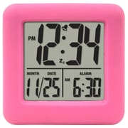 Equity By La Crosse 70902 Rubber Digital LCD Alarm Clock, Pink