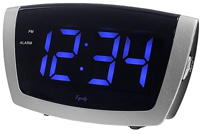 Equity By La Crosse 75904 LED Blue Digital Alarm Clock with USB charging port