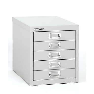 Bisley® 5 Drawer Steel Desktop Multidrawer Cabinet, Light Gray