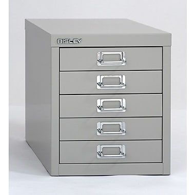 Bisley® 5 Drawer Steel Desktop Multidrawer Cabinet, Silver