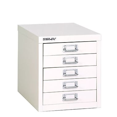 Bisley® 5 Drawer Steel Desktop Multidrawer Cabinet, White