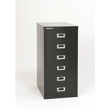 Bisley® 6 Drawer Steel Desktop Multidrawer Cabinet, Black