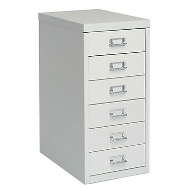 Bisley® 6 Drawer Steel Desktop Multidrawer Cabinet, Light Gray