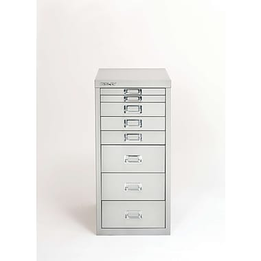 Bisley® 8 Drawer Steel Desktop Multidrawer Cabinet, Silver