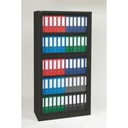 "Bisley® 78"" Premium Binder Storage 4-Shelf Tambour Cabinet, Black (TAMK6-BK)"