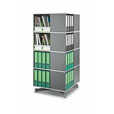 Moll® Cube Binder & File Carousel Shelving, Four Tier, Dark Gray (CUBE4)