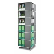 Moll® Square Six Tier Spin & Store Binder Storage Carousel, Graphite
