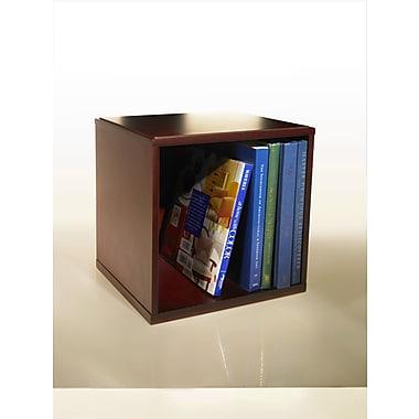 Bindertek Stacking Wood Desk Organizers Cube with Shelves, Mahogany (WCB-MA)