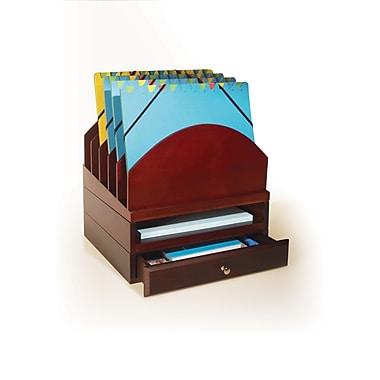 Bindertek Stacking Wood Desk Organizers Step Up File/Tray/Drawer Kit, Mahogany (WK1-MA)