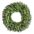 Vickerman 48in. Cheyenne Pine Wreath With 450 Tips & 150 Dura-Lit Clear Light, Green