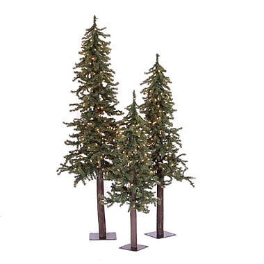 Vickerman 2'/3'/4' Natural Triple Alpine Tree With 488 Tips & 185 Clear Light, Green