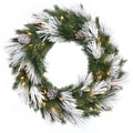 Vickerman 42in. x 22in. Flocked Mix Potted Tree With 65 PVC Tips & 100 Dura-Lit Clear Light, Green/White
