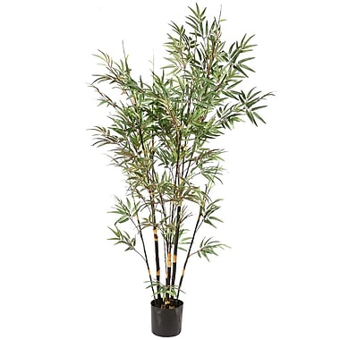 Vickerman 8' Potted Black Bamboo Tree x 14 W/2334 Leaves, Green