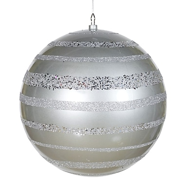 Vickerman 16in. Candy Apple Ball W/Horizontal Le-Same Tone Glitter, Shatterproof Secure Cap, Silver