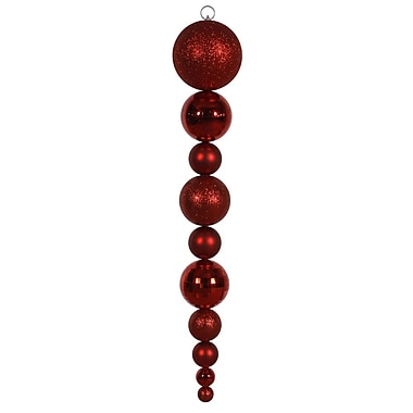 Vickerman 44in. Shatterproof and KD Shiny Ball Drop, Red