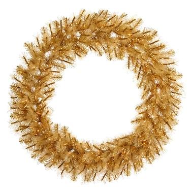 Vickerman 48in. Glitter Mixed Pine Wreath With 282 PE/PVC Tips & 200 Clear Mini Light, Gold